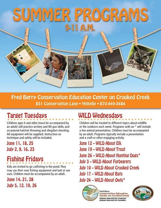 WILD Wednesday Summer Programs 9-11 a m  at Fred Berry
