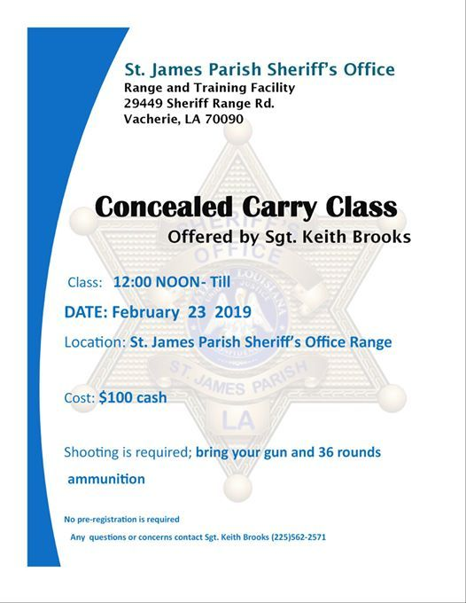 Concealed Carry Class by Sgt Keith Brooks at St  James Parish