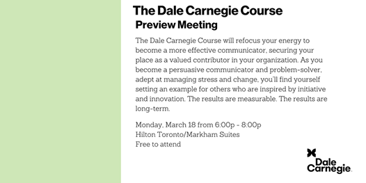 Dale Carnegie Course - Preview Meeting (Markham)