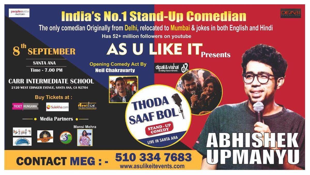 Indias No  1 Stand-Up Comedian, Abhishek Upmanyu, Live in Orange