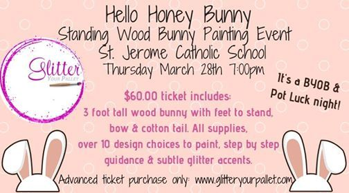 Standing Wood Bunny Painting Event St Jerome School Chicago