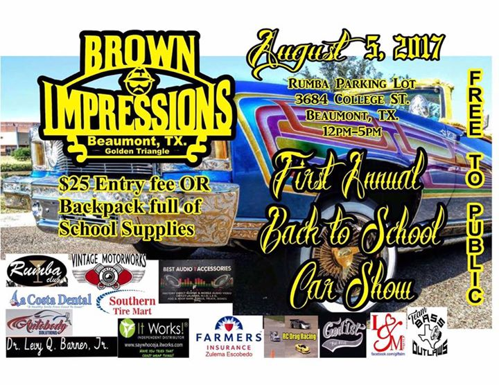 Brown Impressions Car Show And School Supply Drive At Beaumont TX - Car show beaumont tx