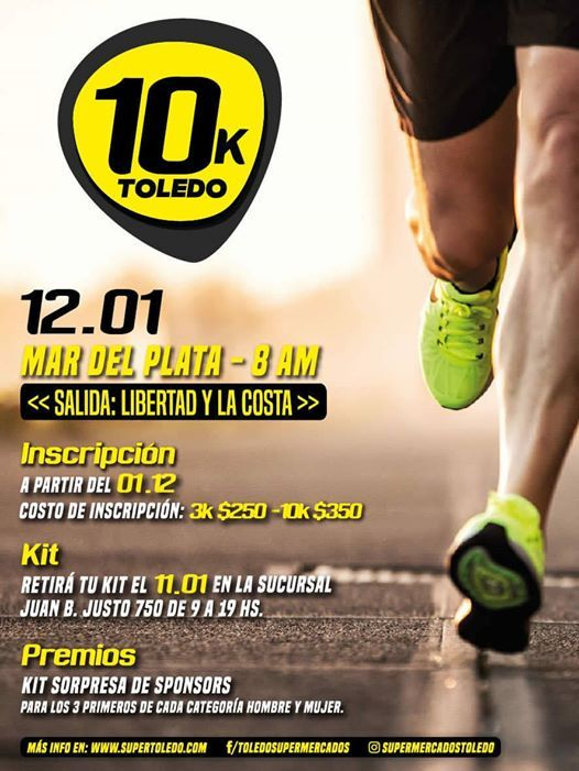 Carrera 10 Km Toledo Mar del Plata - Buenos Aires (3 y 10 Km)