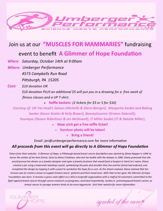 Muscles for Mammaries to benefit A Glimmer of Hope Foundation