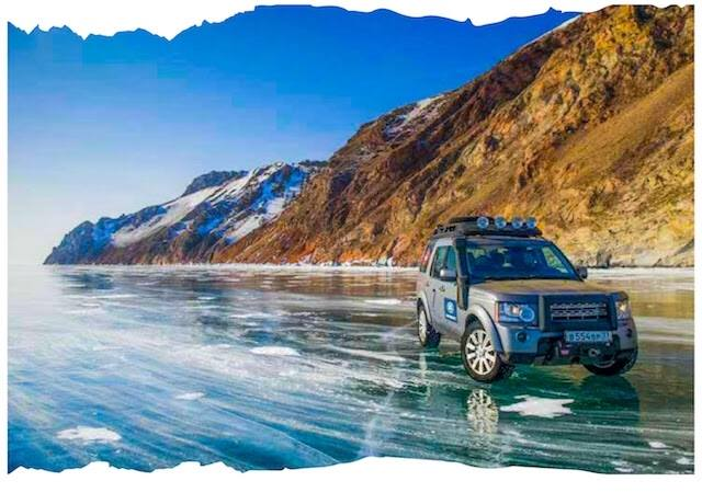 Land Rovers Across Lake Baikal Siberia