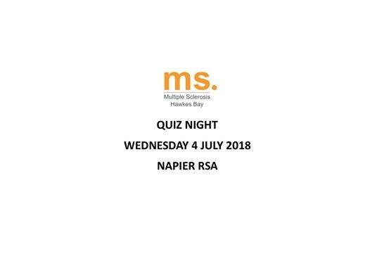 Quiz Night at Hawke's Bay Multiple Sclerosis Society, Napier