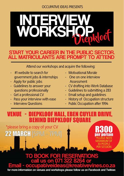 Government Job Interview Workshop   Diepkloof Soweto  Interview Workshop