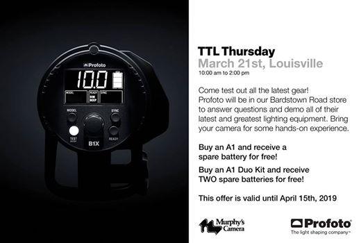 Profoto TTL Thursday at Murphys Camera in Louisville