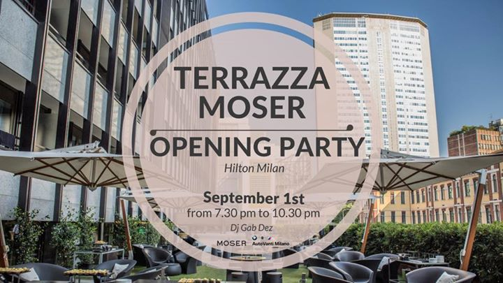 Terrazza moser opening party hilton milano by for Hotel hilton milano