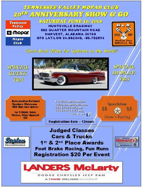 Tennessee Valley Mopar Club Th Annual Car Show At Huntsville - Any car shows near me