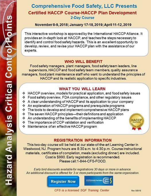Certified HACCP Course-HACCP Plan Development at RK