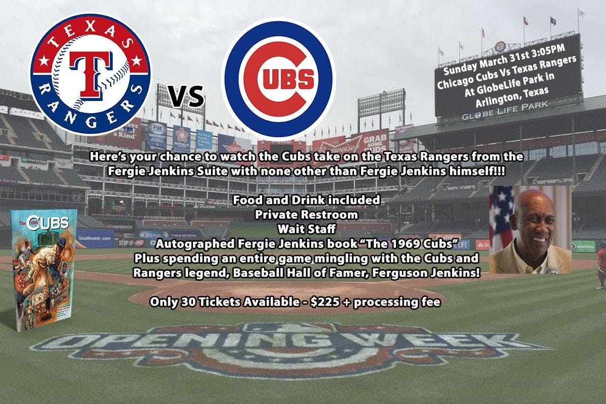 Watch the Cubs vs Rangers from the Fergie Jenkins Suite with  Fergie