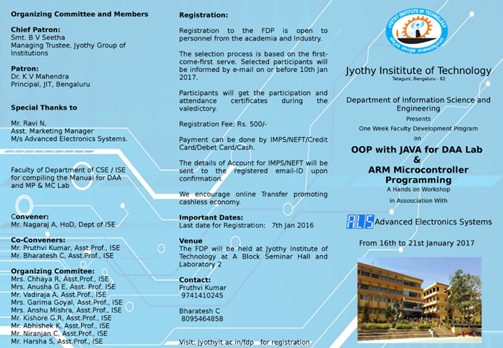 FDP on OOP with JAVA for DAA Lab & ARM MC Programming
