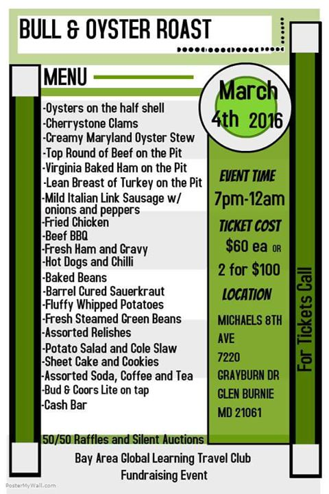 Bull oyster roast at michael 39 s eighth avenue glen burnie for Michaels arts and crafts virginia beach