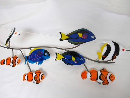 I390  Fused glass wall sculpture Tropical fish panorama
