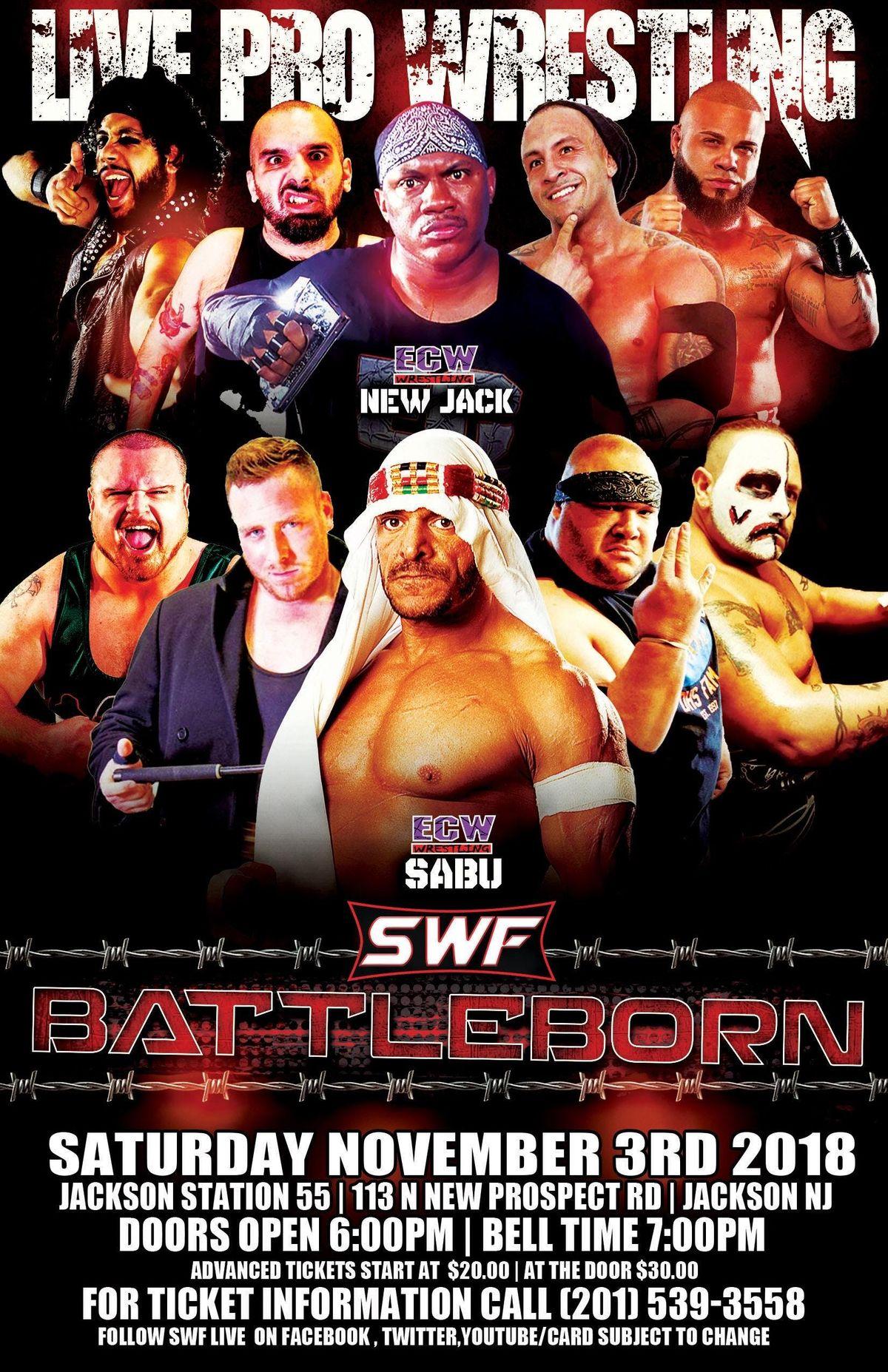 "SWF Wrestling Jackson NJ ""BattleBorn "" w SABU at Jackson Fire Hall"