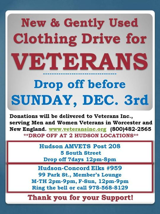 New & Gently Used Clothing Drive for Veterans at Hudson
