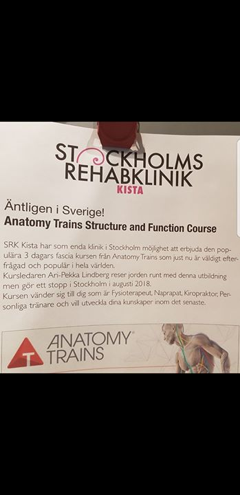 Anatomy Trains Course Stockholm At Stockholms Rehabklinik Kista Kista