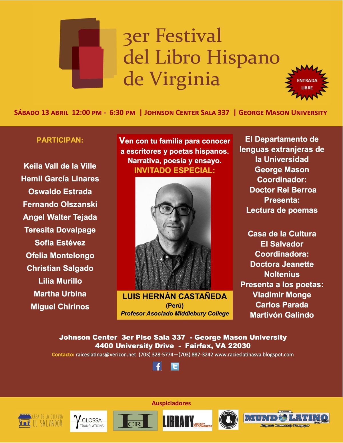 III Festival del libro hispano de Virginia III Hispanic Book Festival of VA