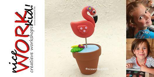 Vakantieworkshop 3 zomer mini flamingo in Fimo