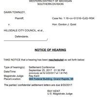 Townley Lawsuit Settlement Conference