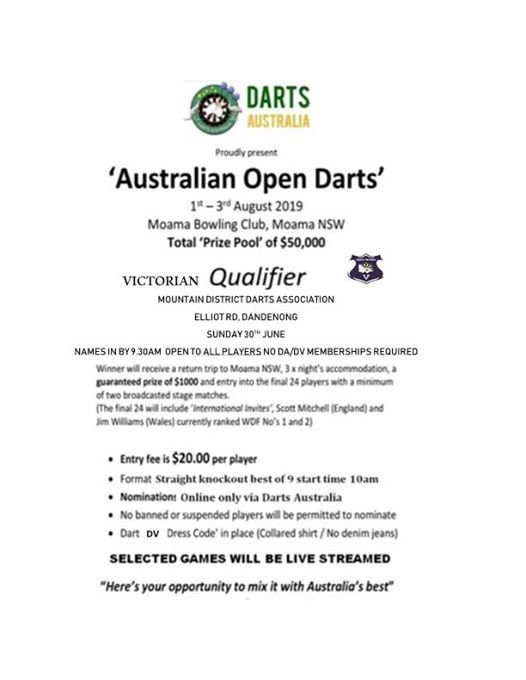 Australian Open 2019 Qualifier Event at Mountain Districts Darts