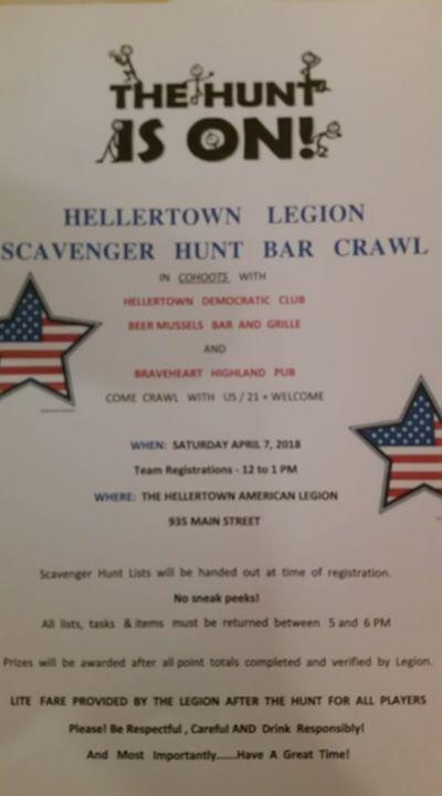Scavenger Hunt Bar Crawl Hellertown American Legion 7 April 2018