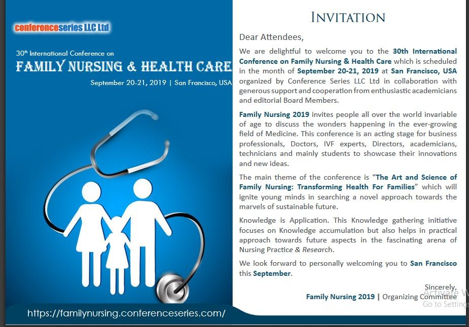 30th International Conference on Family Nursing & Health Care (CSE)