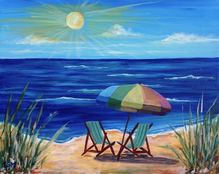 Monday paint night beach life at artsplace cpfa cheshire for Watercolor scenes beginners