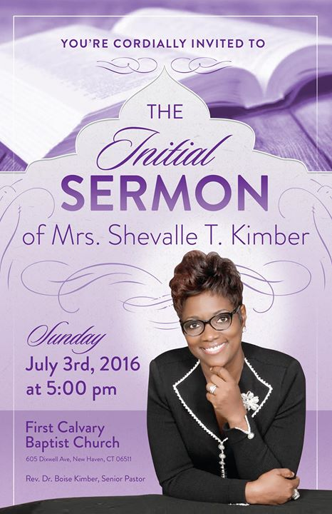 Initial Sermon of Mrs Shevalle T Kimber at First Calvary Baptist