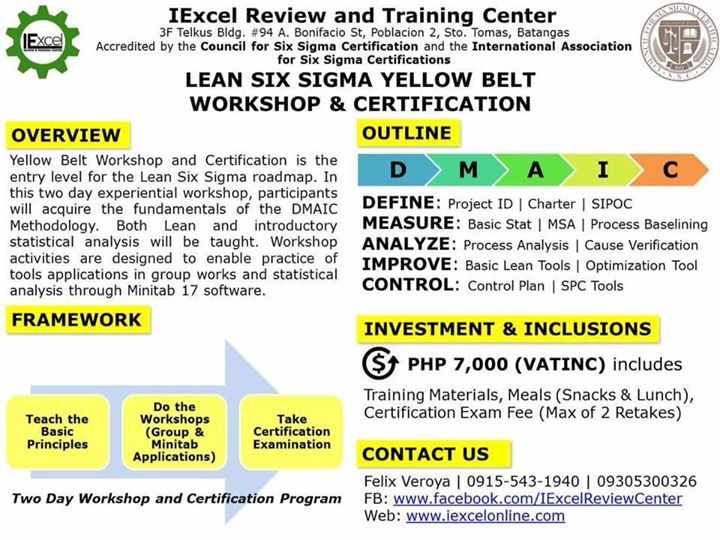 Lean Six Sigma Yellow Belt Workshop and Certification at IExcel ...