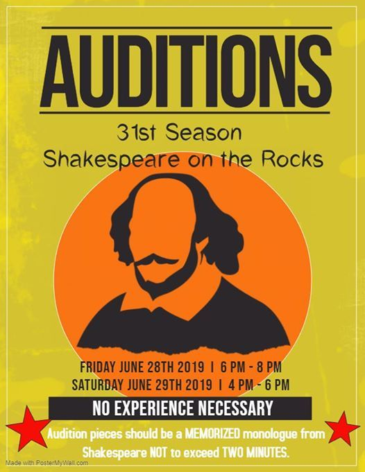 Auditions for the 31st Season of Shakespeare on the Rocks at El Paso