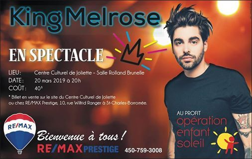 King Melrose Chante Au Profit Dopration Enfant Soleil