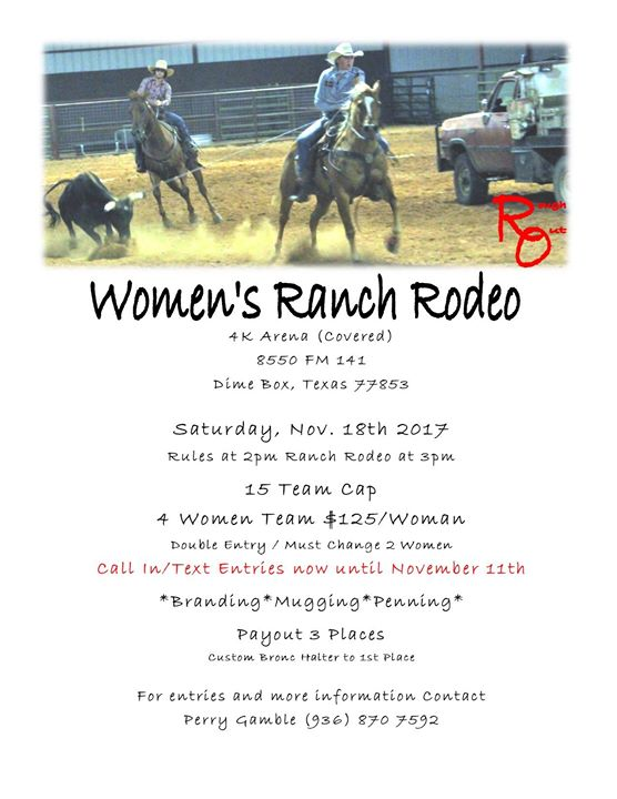 Women Ranch Rodeo At 8550 Fm 141 Dime Box Tx 77853 United States