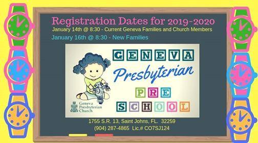 Preschool Registration At Geneva Presbyterian Preschool1755 Sr 13