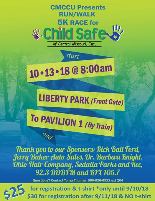 CMCCU 5K Run/Walk for Child Safe at Liberty Park, Sedalia