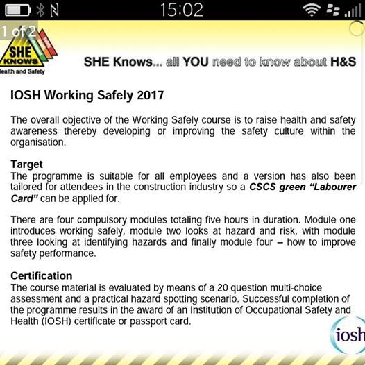 IOSH Working Safely Course at SHE Knows Health and Safety, Kingston