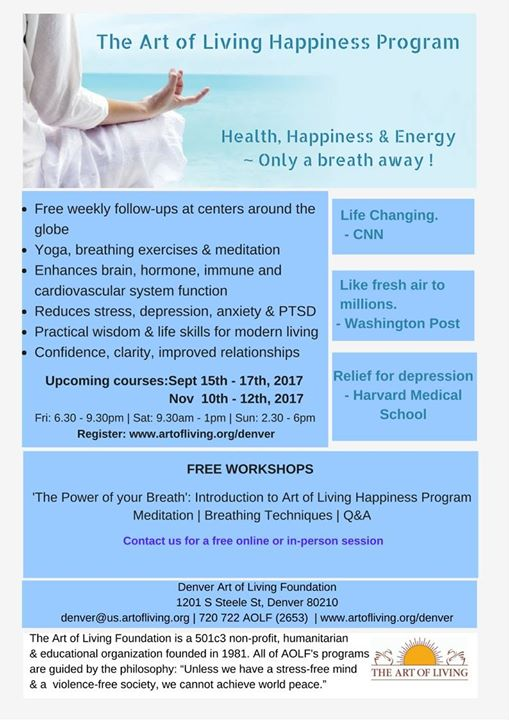 Superbe Happiness Program By The Art Of Living Foundation