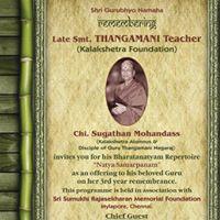 Remebering Thangamani Teacher of Kalakshetra Foundation