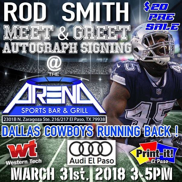 Rod smith meet greet dallas cowboys rb at the arena sports bar rod smith meet greet dallas cowboys rb m4hsunfo