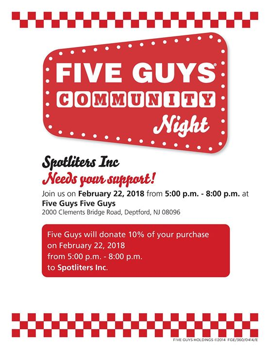 Spotliters Fundraiser Five Guys Deptford