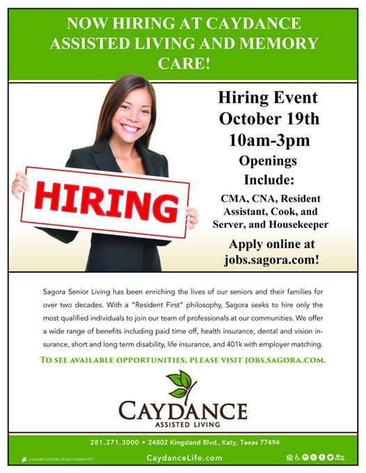 Caydance Hiring Event Katy