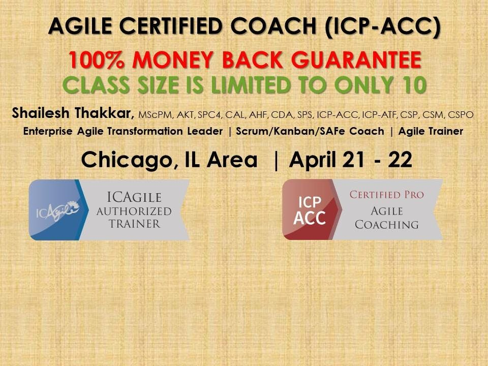 Agile Certified Coach Icp Acc Workshop At Chicago Glenview