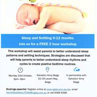 Sleep and settling 0-12months workshop