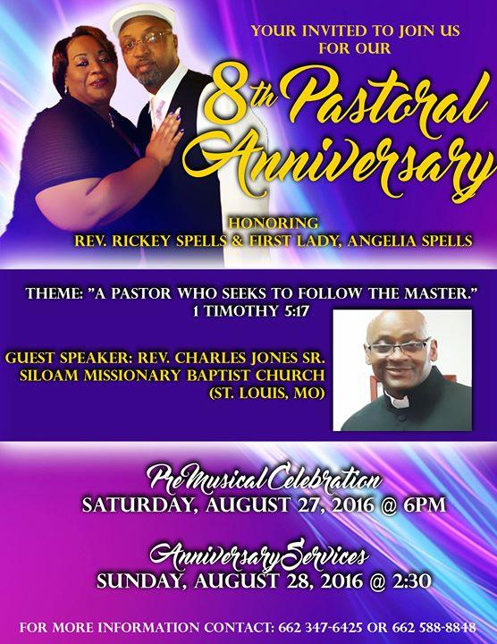8th year pastoral anniversary honoring Rev. Rickey Spells ...