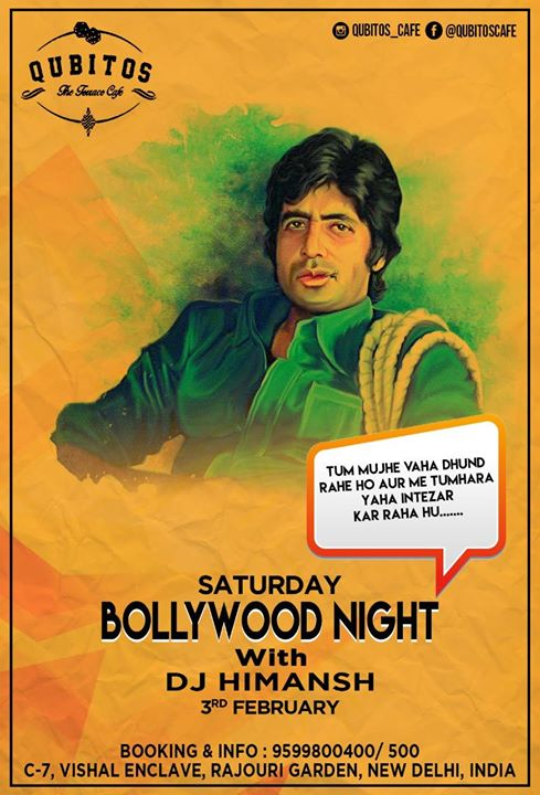 Bollywood night with dj himansh at qubitos the terrace for Qubitos the terrace cafe