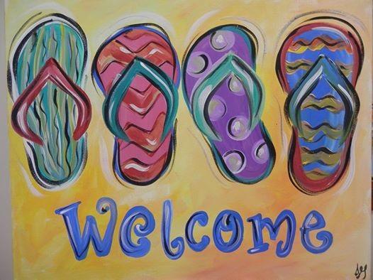 Paint And Sip Flip Flops At Wine Design Winston Salem Nc Carolina