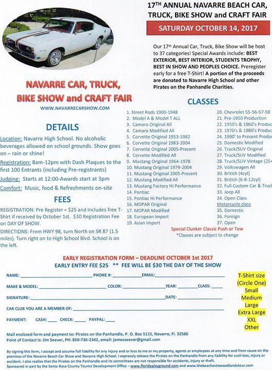 Navarre Car Truck Bike Show And Craft Fair At High School - Florida state fairgrounds car show