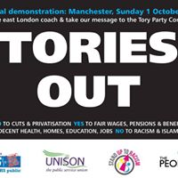 No to austerity protest at Tory party conference Manchester