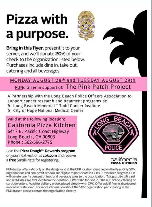 California Pizza Kitchen Fundraiser With Long Beach Pd Long Beach